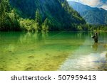 fisherman on the mountain river ... | Shutterstock . vector #507959413