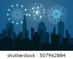 night cityscape silhouette with ... | Shutterstock .eps vector #507962884