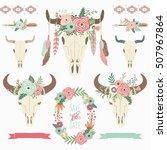 tribal bison skull floral wreath   Shutterstock .eps vector #507967864