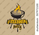 retro logo design with bbq... | Shutterstock .eps vector #507972100