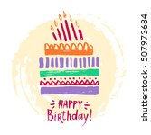 cute happy birthday card or... | Shutterstock .eps vector #507973684