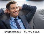 smiling young businessman with... | Shutterstock . vector #507975166