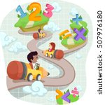 whimsical stickman illustration ... | Shutterstock .eps vector #507976180