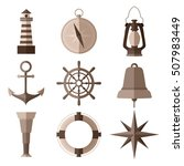 set of monochrome nautical flat ... | Shutterstock .eps vector #507983449