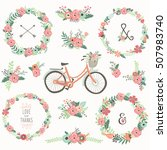 retro flower wreath bicycles  | Shutterstock .eps vector #507983740