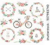 retro flower wreath bicycles  | Shutterstock .eps vector #507983740