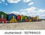 beachhouses at muizenberg beach ... | Shutterstock . vector #507984610
