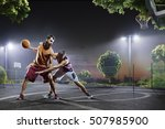 basketball players in action on ... | Shutterstock . vector #507985900