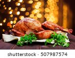 roasted turkey. thanksgiving... | Shutterstock . vector #507987574