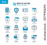 mono flat line icons set of... | Shutterstock .eps vector #507990694