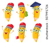 set of happy cartoon pencils... | Shutterstock .eps vector #507991726