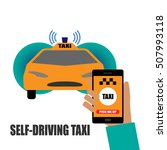 self driving taxi vector... | Shutterstock .eps vector #507993118