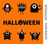 happy halloween card. text with ... | Shutterstock . vector #507995236