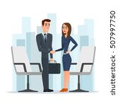 businesswoman and businessman... | Shutterstock .eps vector #507997750