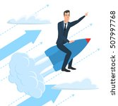 businessman flying on a rocket...   Shutterstock .eps vector #507997768