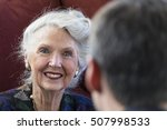 mature woman talking with young ... | Shutterstock . vector #507998533
