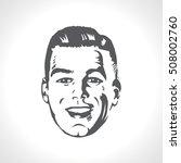 happy male face  smile retro... | Shutterstock .eps vector #508002760