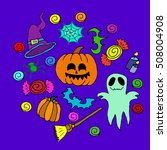the halloween set pumpkin party ... | Shutterstock .eps vector #508004908