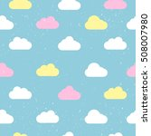 Stock vector seamless pattern with clouds on a blue background 508007980