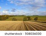 A Hillside Straw Stubble Field...