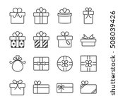 gift box and present line icon. ... | Shutterstock .eps vector #508039426