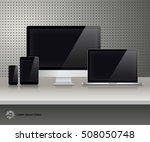 realistic computer monitor ... | Shutterstock .eps vector #508050748