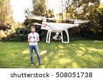 young hipster man with flying... | Shutterstock . vector #508051738