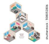 isometric house rooms  home set | Shutterstock .eps vector #508052806