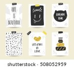 cute doodle black and gold... | Shutterstock .eps vector #508052959
