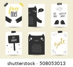 cute doodle black and gold... | Shutterstock .eps vector #508053013
