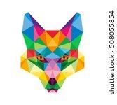 polygonal animal fox head... | Shutterstock .eps vector #508055854