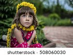 young girl wreath flowers yellow | Shutterstock . vector #508060030