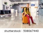 first time at airport. blond... | Shutterstock . vector #508067440