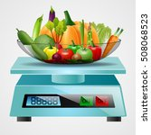 scale with fruits and vegetables | Shutterstock . vector #508068523