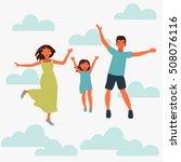 happy family jumping on white... | Shutterstock .eps vector #508076116