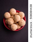 Small photo of Cholai ke laddo or Rajgira laddu or Amaranth ladoo in in Bowl and plate
