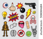fashion patch badges in 80s 90s ... | Shutterstock .eps vector #508084684