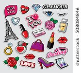 fashion patch badges in 80s 90s ... | Shutterstock .eps vector #508084846