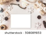 cute vintage christmas new year ... | Shutterstock . vector #508089853