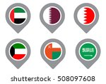gcc gulf country flag map point ...