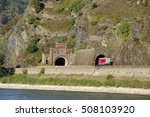 """Small photo of KOBLENZ, GERMANY - 16.10.2016 . Tunnel near the Lorelei. This is a view fragments of the famous tourist route """"Castles of the Rhine""""."""