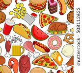food seamless pattern. feed... | Shutterstock .eps vector #508112623