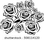 vector bouquet of roses black...   Shutterstock .eps vector #508114120