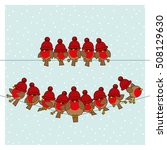 Many Robin Red Breasts wearing Red Woolly Bobble Hats sitting on a couple of Telephone Wires with Snowing Background