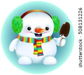 funny cartoon snowman in furry... | Shutterstock .eps vector #508131226