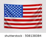 Hanging Flag Of Usa. United...