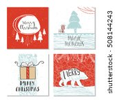 set of 4 cute gift cards and... | Shutterstock .eps vector #508144243
