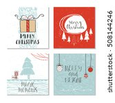 set of 4 cute gift cards and... | Shutterstock .eps vector #508144246