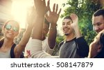 diverse group people high five... | Shutterstock . vector #508147879