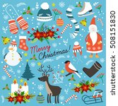 christmas hand drawn elements... | Shutterstock .eps vector #508151830